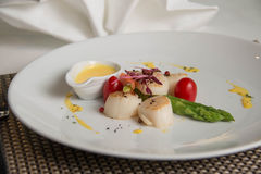 Gourmet seared scallops with garnishes. Stock Photo