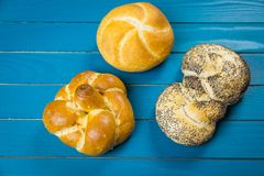 Gourmet selection of fresh bread rolls and pretzel royalty free stock photo