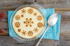 Gourmet Semolina Dessert with Milk on Wooden Table Royalty Free Stock Photo