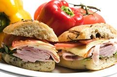 gourmet- skinksmörgås Arkivfoto