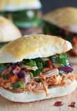 Gourmet Sliders. Mini appetizer sandwiches with pulled meat and vegetable slaw Royalty Free Stock Image