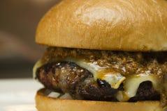 Gourmet- slut för hamburgare för schweizisk ost för joucy upp Royaltyfri Bild
