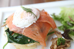 Gourmet smoked salmon with pancake Royalty Free Stock Images