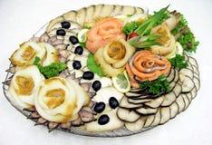 Gourmet sorterat fiskuppläggningsfat Royaltyfria Bilder