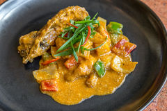Gourmet spice curry rock lobster. Gourmet spice curry rock lobster with salted egg Stock Photo