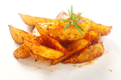 Gourmet Spicy Fried Potato Wedges on Plate. Close up Gourmet Spicy Fried Potato Wedges on Plate with Herb on Top. on White Background royalty free stock image