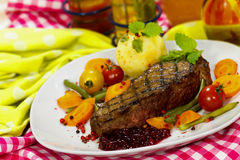 Gourmet Steak with Green Beans,Cherry Tomato,Cranb Stock Photos