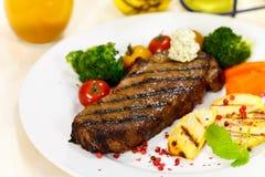 Gourmet Steak With Broccoli,Cherry Tomato Stock Photo