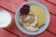 Gourmet street food. From a local food market in Velenje, Slovenia with some nice cold beer on the side Royalty Free Stock Image