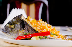 Gourmet stuffed grilled fish Stock Image