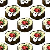 Gourmet sushi seamless pattern Stock Image