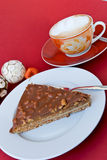 Gourmet swedish tart with roasted almonds and cap Royalty Free Stock Photography