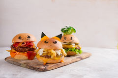Gourmet  tasty pokemon burgers. With cheese, and vegetables, selective focus Royalty Free Stock Images