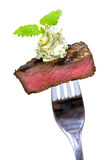 Gourmet Time,piece Of A Grilled Steak With Herb Bu Royalty Free Stock Photos