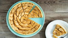 Gourmet traditional holiday apple tart. Rustic style and natural light. Gourmet traditional holiday apple tart. Rustic style and natural light for your design stock photos