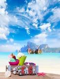 Gourmet tropical icecream dessert. Served alongside a sunny summer beach in an elegant dish Royalty Free Stock Photos