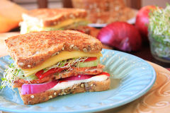 Gourmet turkey sandwich Royalty Free Stock Photography