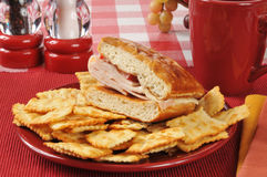 Gourmet turkey sandwich Stock Photography