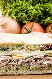 Gourmet turkey sandwich with muenster cheese Royalty Free Stock Photo
