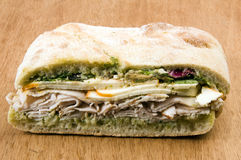 Gourmet turkey sandwich with muenster cheese Stock Photos