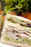 Gourmet turkey sandwich with muenster cheese Royalty Free Stock Photography