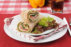 Gourmet turkey and smoked gouda cheese wrap Stock Photography