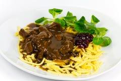 Gourmet Venison goulash with pasta Stock Image