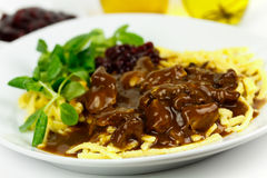 Gourmet Venison goulash with pasta Royalty Free Stock Photos