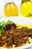 Gourmet Venison goulash with pasta Royalty Free Stock Photo