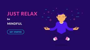 Gourou calme de yoga méditant au-dessus du plancher Illustration au néon de vecteur plat de type calme illustration de vecteur