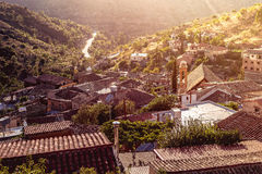 Gourri, παραδοσιακό ορεινό χωριό στα ξημερώματα Λευκωσία Δ Στοκ Εικόνες