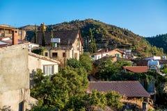 Gourri en by som lokaliseras på det Machaira berget Nicosia Dist Arkivfoton