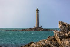Goury lighthouse. Lighthouse in Goury, Normandy, France Stock Images