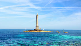 Goury Lighthouse in Normandy, France. Royalty Free Stock Photos
