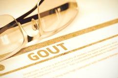 Gout - τυπωμένη διάγνωση στο κόκκινο υπόβαθρο τρισδιάστατη απεικόνιση ελεύθερη απεικόνιση δικαιώματος