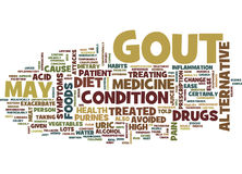 Gout Treated With Alternative Medicine Text Background  Word Cloud Concept. GOUT TREATED WITH ALTERNATIVE MEDICINE Text Background Word Cloud Concept Royalty Free Stock Image