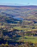 Gouthwaite Reservoir Pateley Bridge Nidderdale Yorkshire. View up Nidderdale Valley with Gouthwaite and Moors and Pateley Bridge village England Stock Image