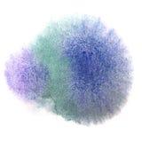 Goutte de peinture d'encre d'aquarelle de vert bleu d'art Photo stock