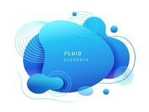 Goutte liquide bleue de résumé dans la forme 3d photos stock