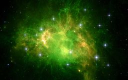 Goutte verte géante rougeoyante du gaz et de la poussière, rayonnement de Lyman-alpha Image libre de droits