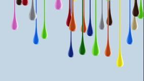 gouttes brillantes colorées multicolores de la peinture 3D s'égouttant vers le bas Image stock