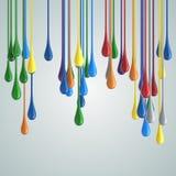 gouttes brillantes de baisse de peinture de la couleur 3D Images libres de droits
