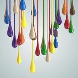 gouttes brillantes de baisse de peinture de la couleur 3D Image libre de droits
