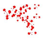 Gouttes de sang le sang rouge éclabousse, les baisses et la traînée d'isolement sur le fond blanc illustration stock