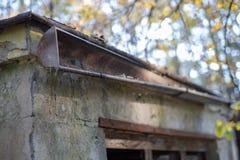 Gouttière vidangeant l'eau de pluie Le bâtiment est équipé du drainag photographie stock libre de droits