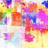 Égoutture multicolore grunge sur le fond de coton Élément abstrait de conception Photo libre de droits