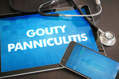Gouty panniculitis (cutaneous disease) diagnosis medical concept. On tablet screen with stethoscope Royalty Free Stock Image