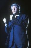Gouverneur Bill Clinton spricht an einer Texas-Kampagnensammlung im Jahre 1992 an seinem letzten Tag von Werbetätigkeit in McAlle stockfotografie