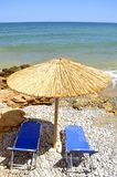 Gouves plaży parasols w Crete zdjęcie stock