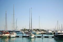 Gouvia小游艇船坞,科孚岛,希腊 免版税库存图片